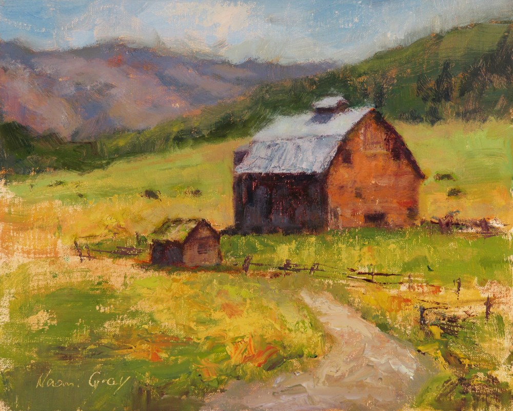 """Old Barn in Cattle Field"" original fine art by Naomi Gray"