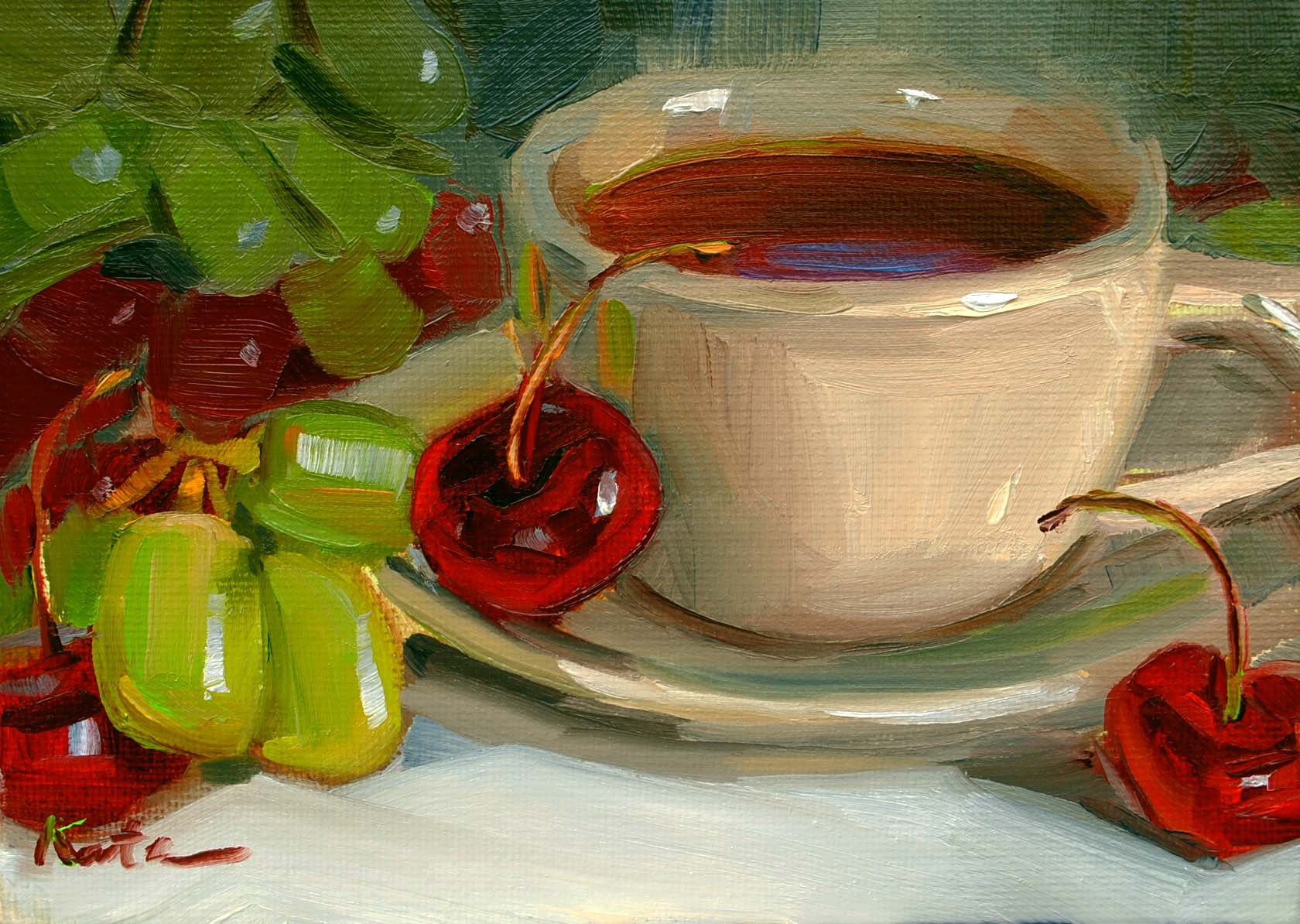 """Fruit Tea"" original fine art by Elena Katsyura"