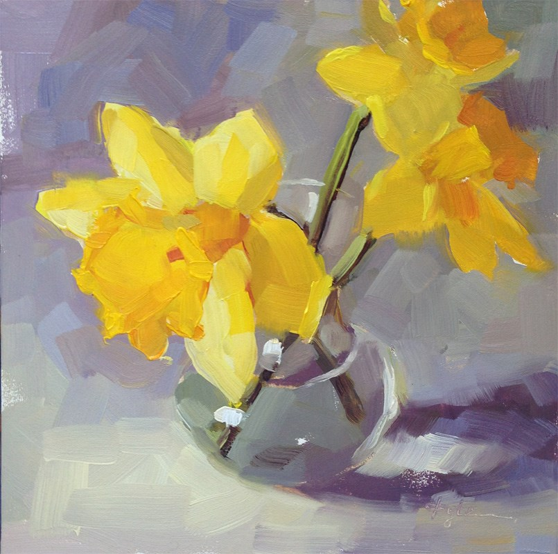 """Daffodils on Purple"" original fine art by Katia Kyte"