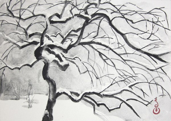 """Japanese Maple in the Snow #2"" original fine art by Catherine M. James"