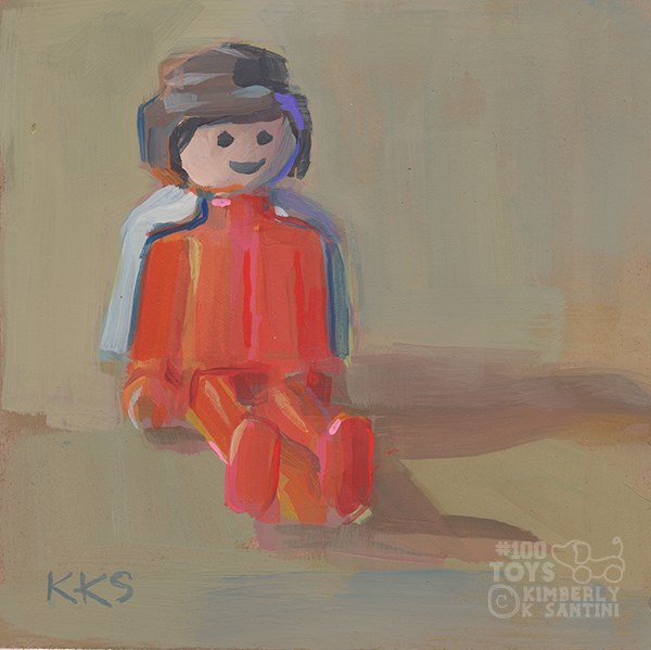 """Playmobil SuperGirl (or convict with cape, depending upon your point of view)"" original fine art by Kimberly Santini"