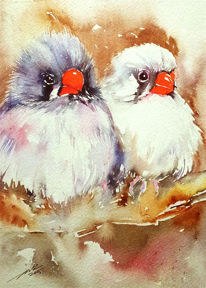 """Grey and White Finches"" original fine art by Arti Chauhan"