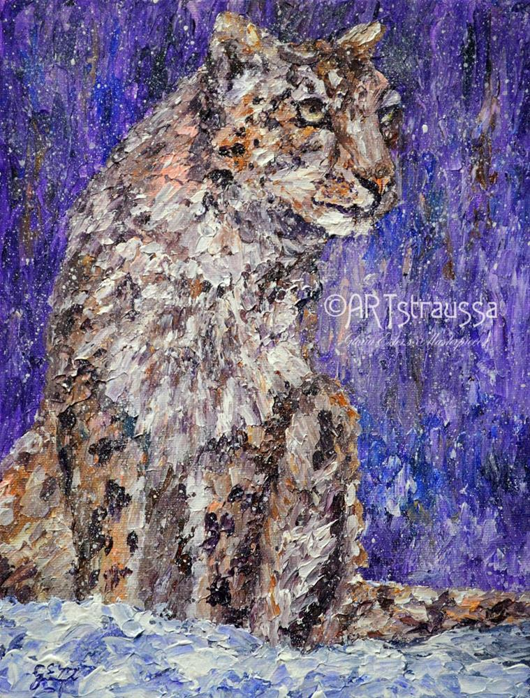 """Leopard Snowflakes"" original fine art by Gloria Ester"