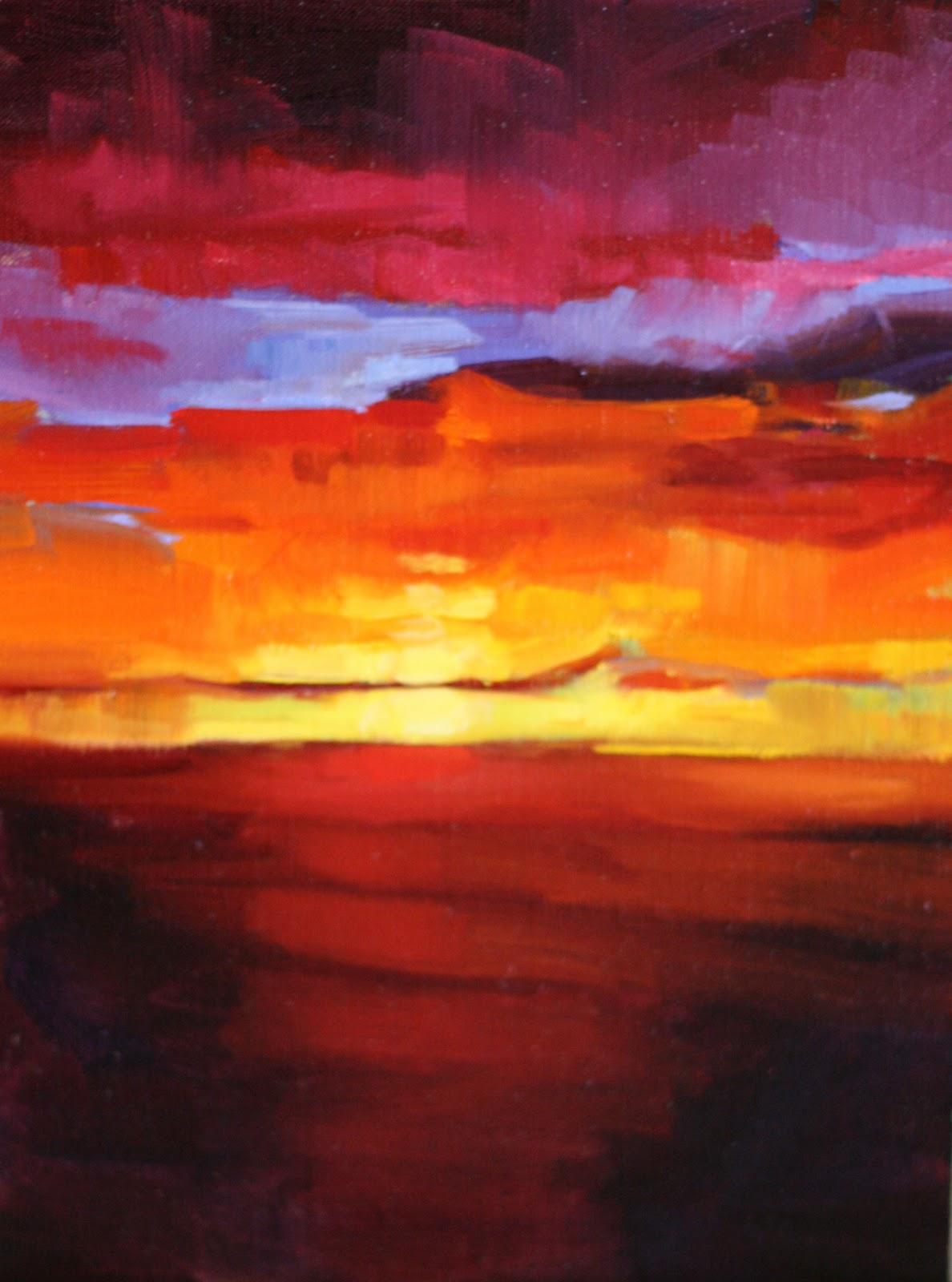 """Buffalo Sunset"" original fine art by Katharine Engh"