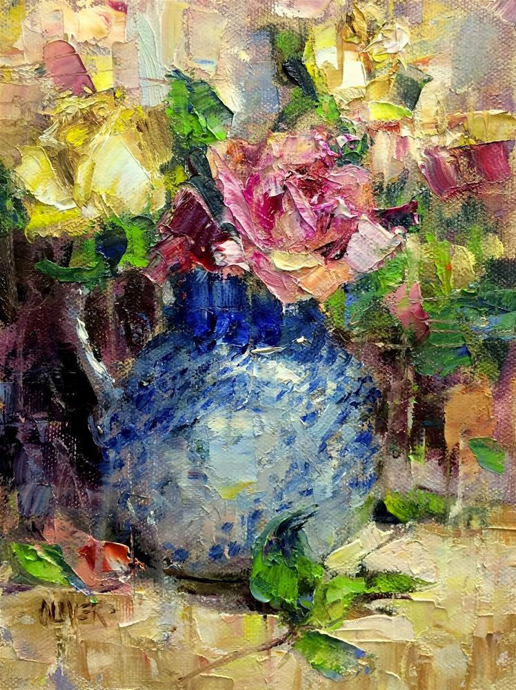 """Roses and Cezanne's Outlines."" original fine art by Julie Ford Oliver"