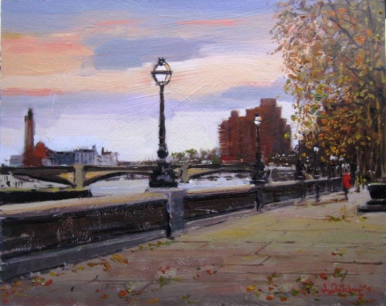 """Autumn Evening, Chelsea Embankment"" original fine art by Adebanji Alade"