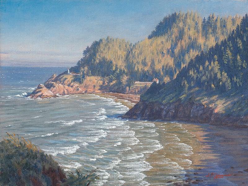 """C1602 Summer Morning Shadows & Low Tide at Heceta Head Light"" original fine art by Steven Thor Johanneson"