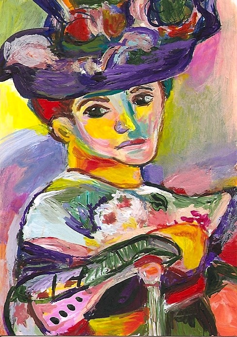 """ACEO Woman with a Hat in the style of Henri Matisse Fauvism Penny StewArt"" original fine art by Penny Lee StewArt"