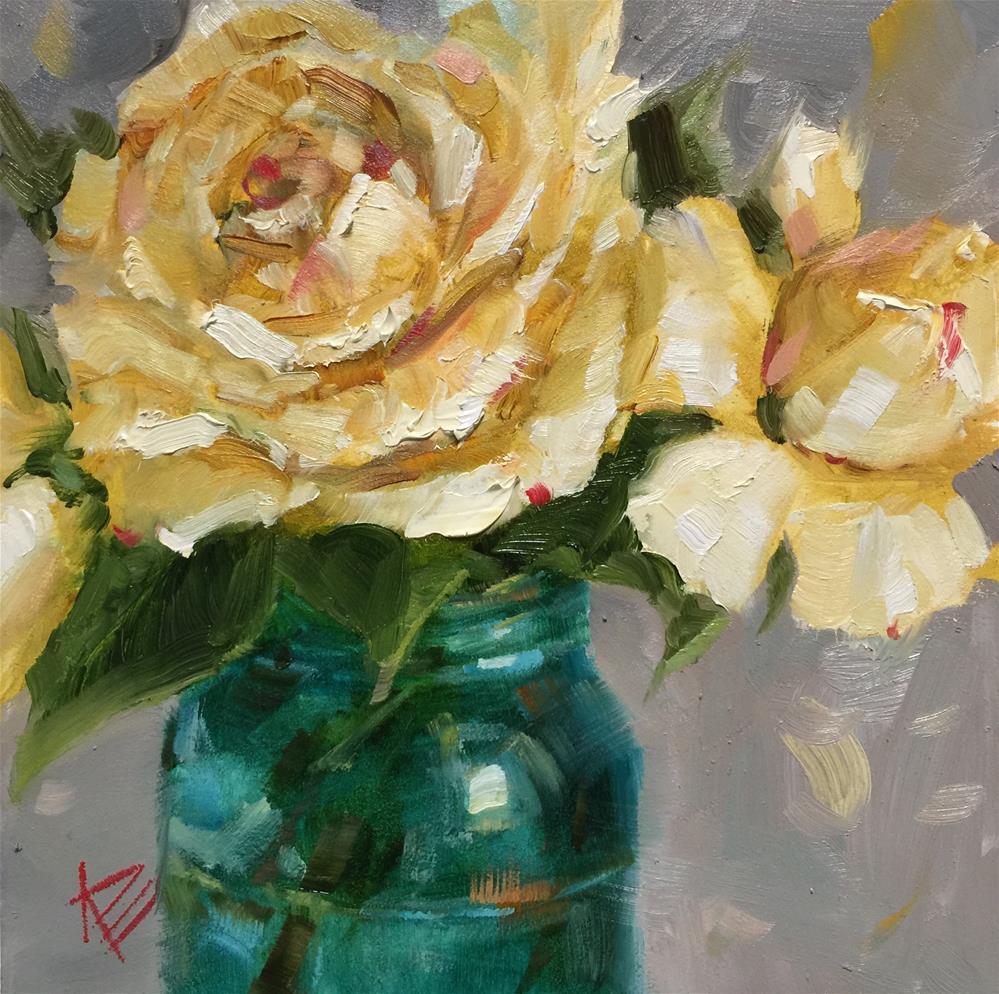 """Roses & Vintage Jar"" original fine art by Krista Eaton"