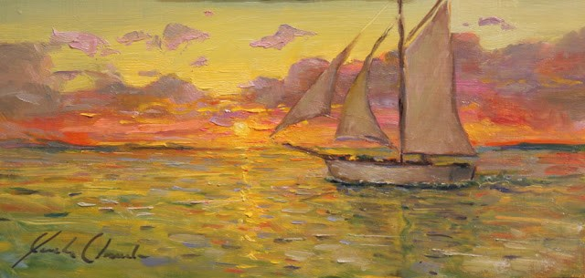 """Sunset on the water - Framed - free shipping"" original fine art by Justin Clements"
