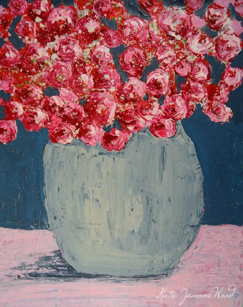 """Pink and blue cottage chic floral painting No 139"" original fine art by Katie Jeanne Wood"