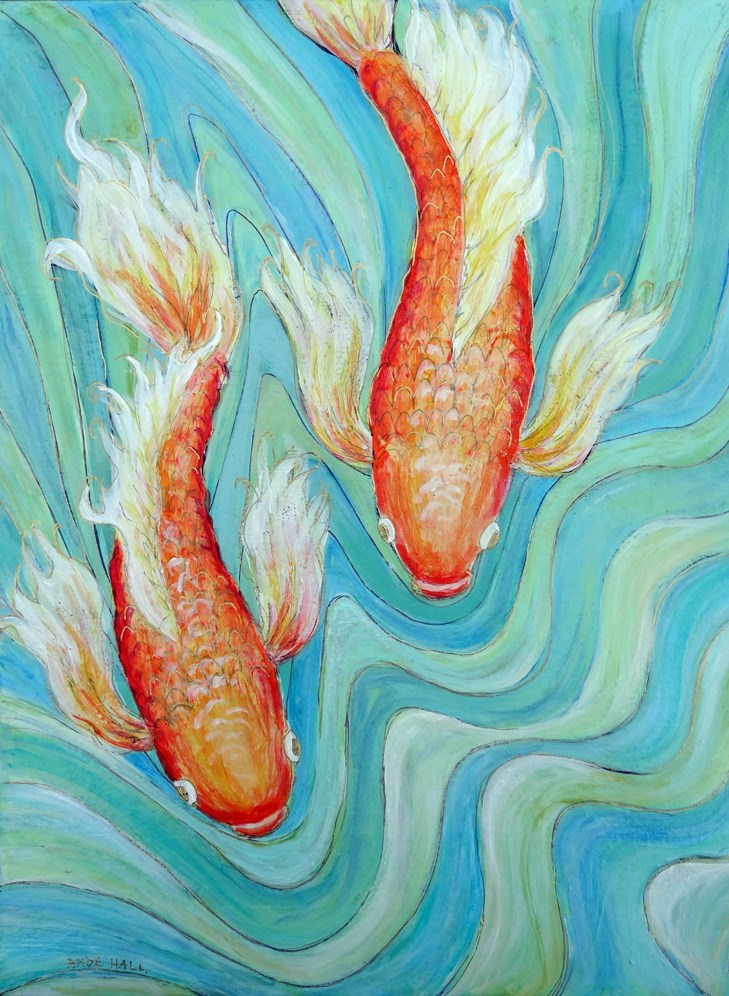 """Koi Twins"" original fine art by Ande Hall"
