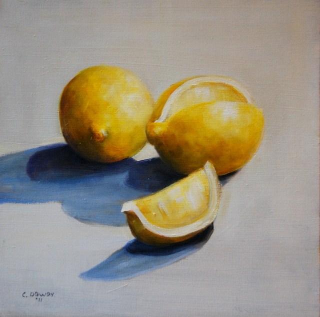 """Lemons On White"" original fine art by Christina Dowdy"