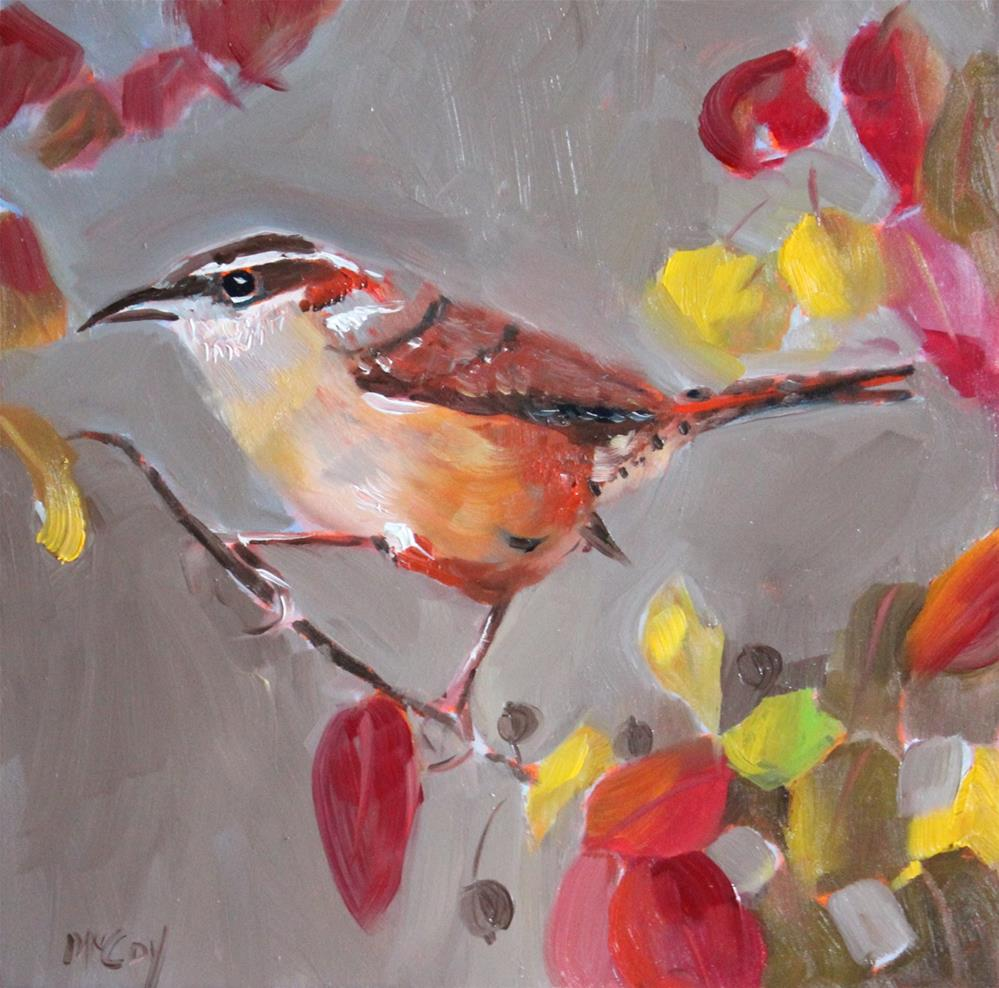 """Wrenegade, Bird Oil Painting"" original fine art by Linda McCoy"