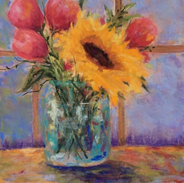 """Tulips and Sunflower"" original fine art by Angeli Petrocco Coover"