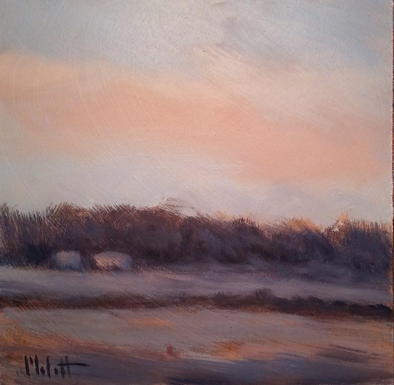 """Winter Landscape Morning Frost Original Daily Oil Painting"" original fine art by Heidi Malott"
