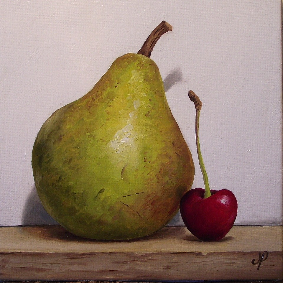 """Pear with cherry"" original fine art by Jane Palmer"