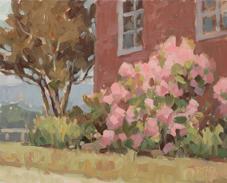 """DAY 9: Pink Rhododendrons"" original fine art by Stuart Roper"