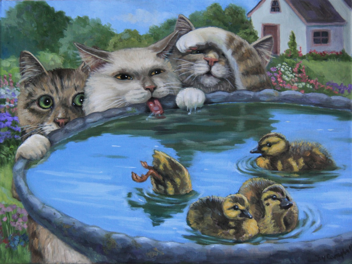 """A Duckie Bath"" original fine art by Joy Campbell"