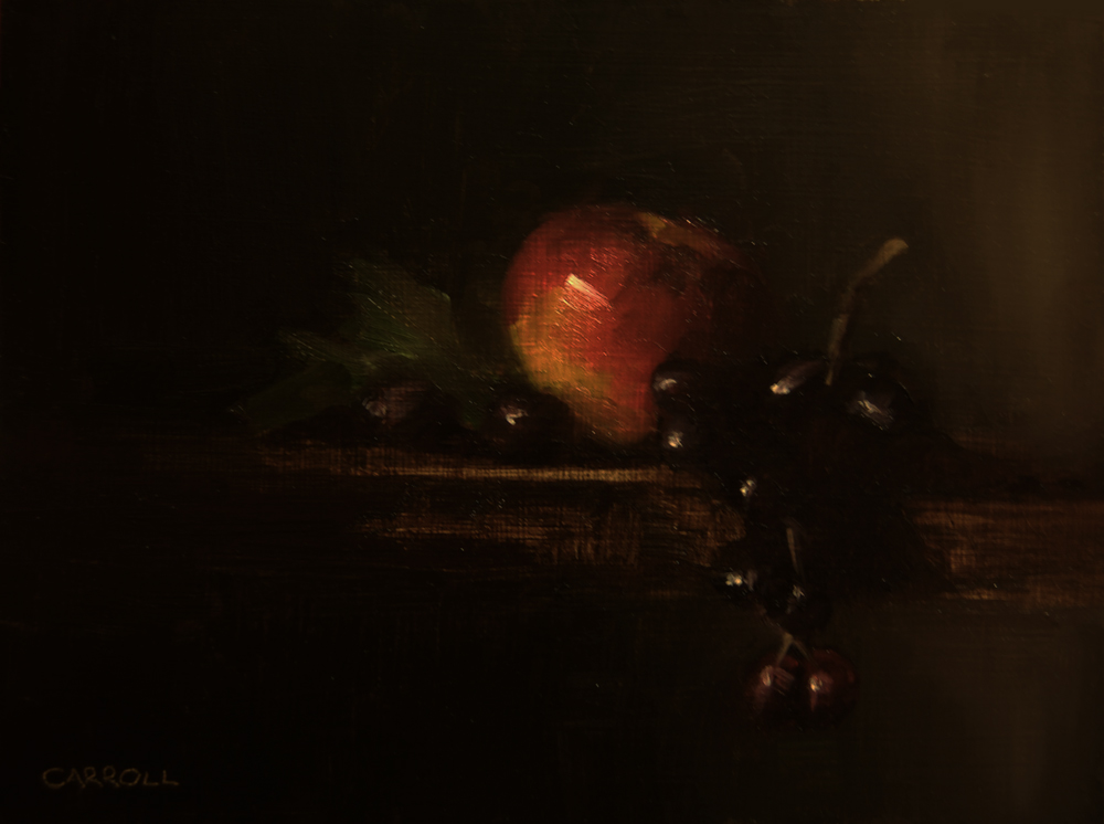 """Apple with Grapes"" original fine art by Neil Carroll"