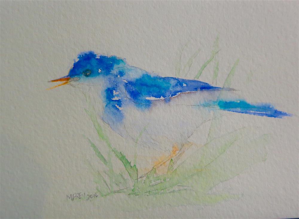 """Blue Bird 091"" original fine art by Michelina Frey"