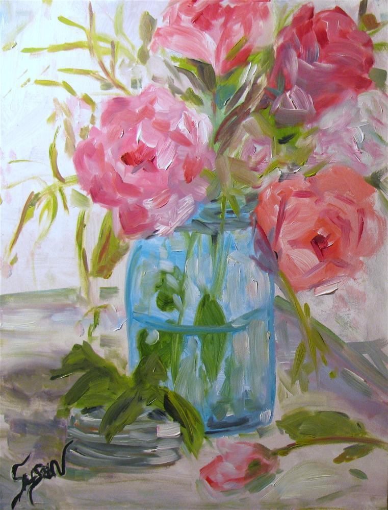 """Roses in a Ball Jar"" original fine art by Susan Elizabeth Jones"