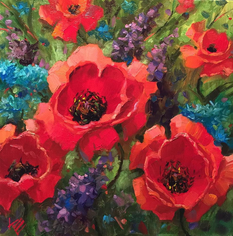 """Poppies in paradise"" original fine art by Krista Eaton"