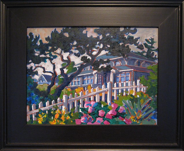 """Framed_SeasideCottage 9x12"" original fine art by Jan Poynter"