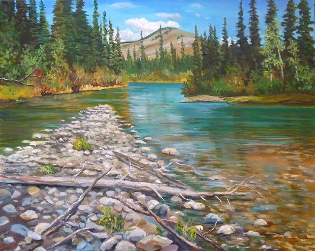 """Sticks and Stones - Magundy River"" original fine art by Jackie Irvine"