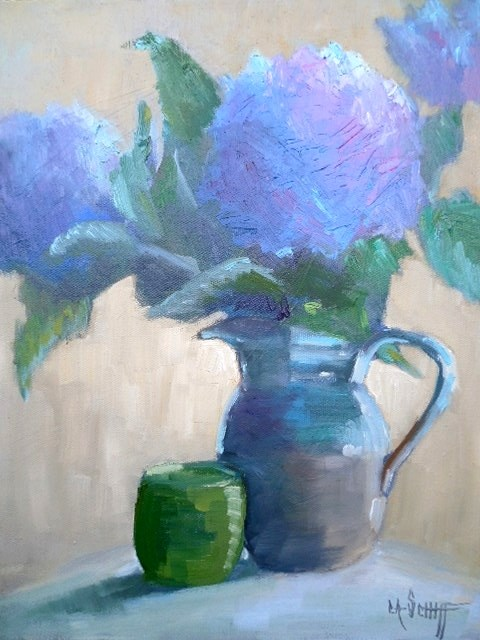 """Hydrangea Painting, Daily Painting, Small Oil Painting, 11x14x1.5: Oil"" original fine art by Carol Schiff"