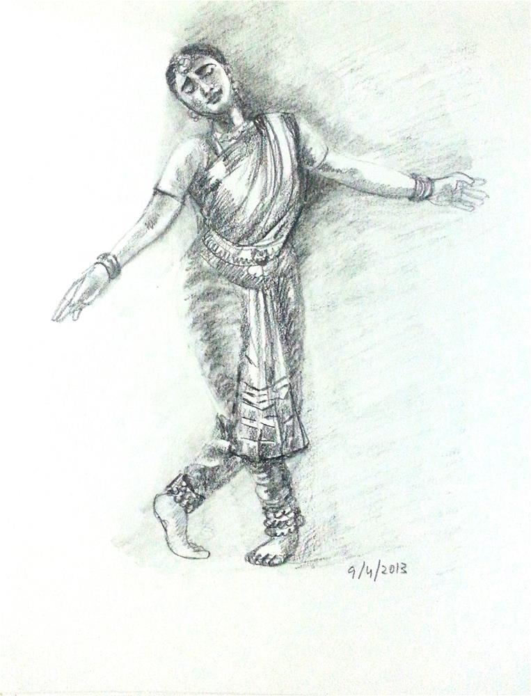 """Indian Dancer 5"" original fine art by Asha Shenoy S"