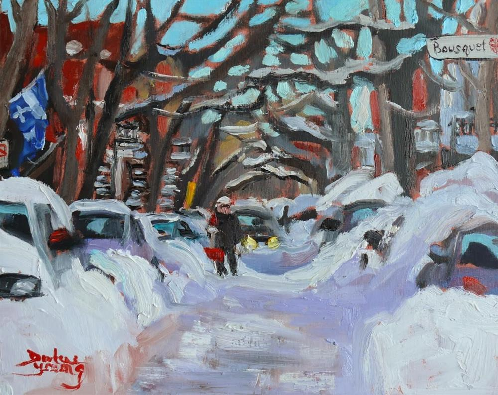 """714 Montreal Winter Scene, rue Bousquet"" original fine art by Darlene Young"