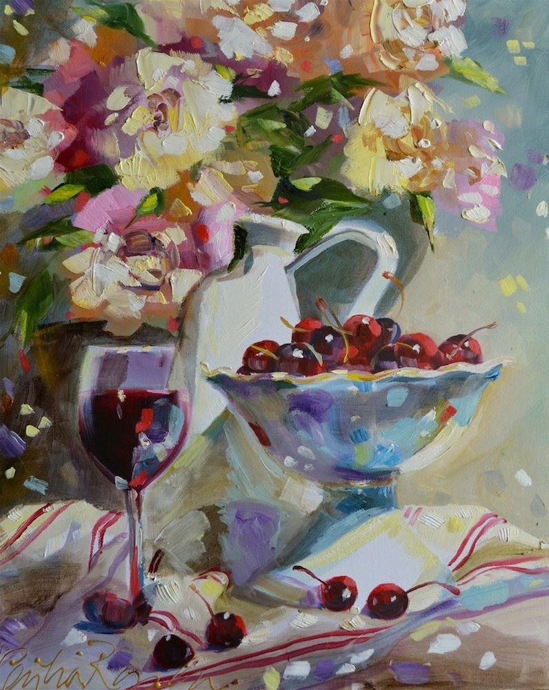 """French pitcher with cherries"" original fine art by Cecilia Rosslee"