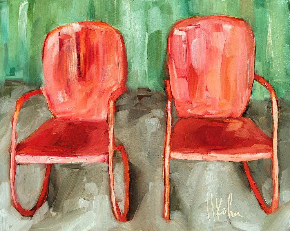 """""""Chairs for Two"""" original fine art by Hallie Kohn"""