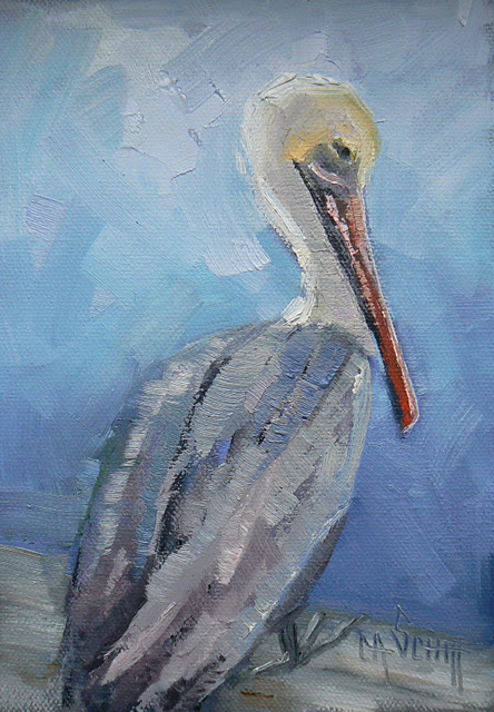 """Original Oil Pelican Painting, 5x7, Sitting on the Dock of the Bay"" original fine art by Carol Schiff"