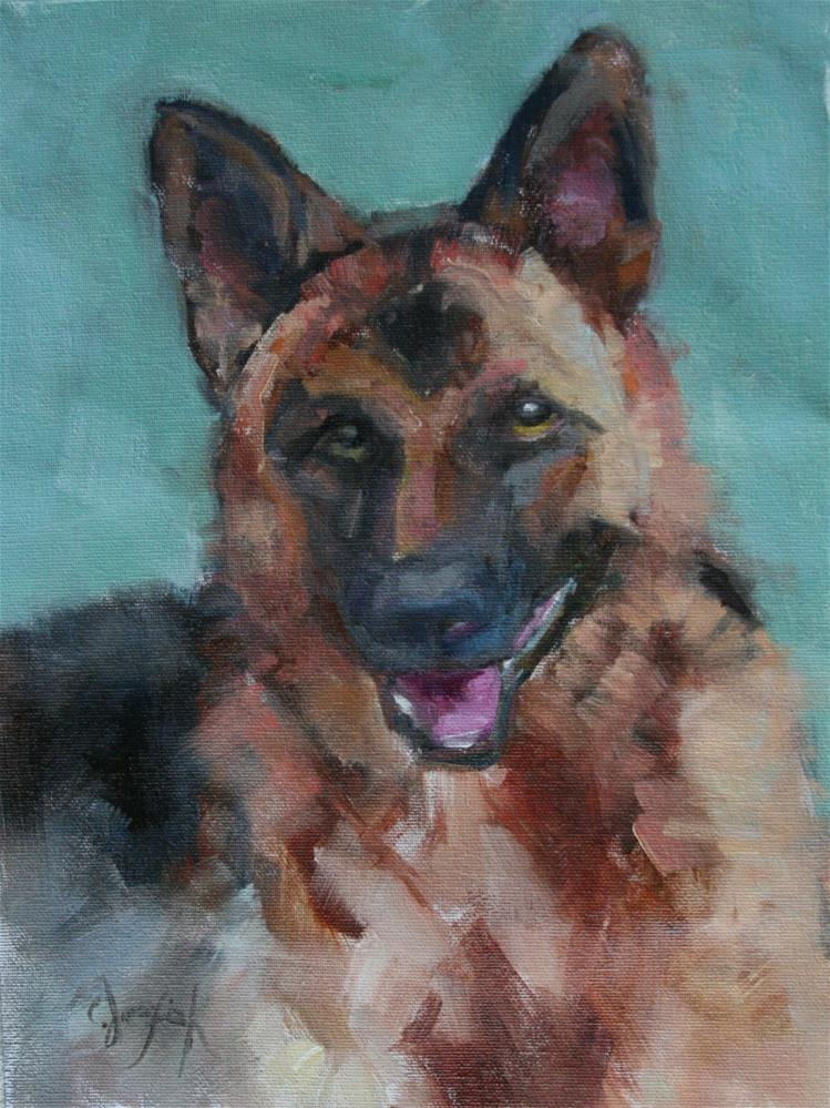 """German Shephard Portrait"" original fine art by Carol Josefiak"