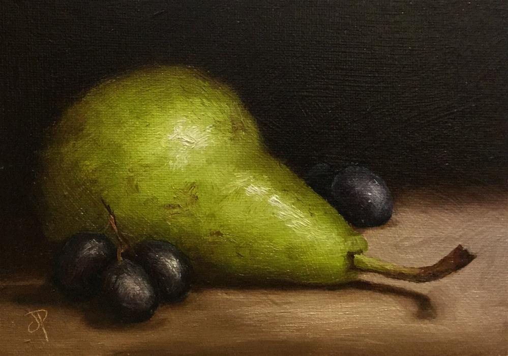 """Pear with Grapes"" original fine art by Jane Palmer"