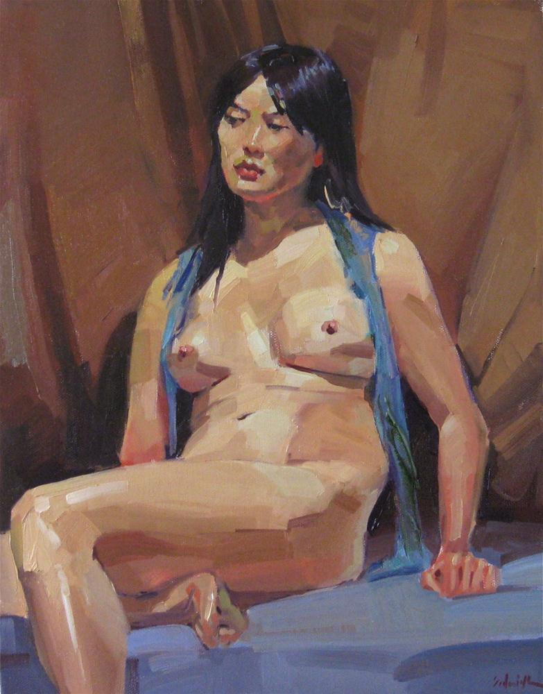 """The Blue Scarf nude female figure painting figurative art contemporary realism oil on canvas"" original fine art by Sarah Sedwick"