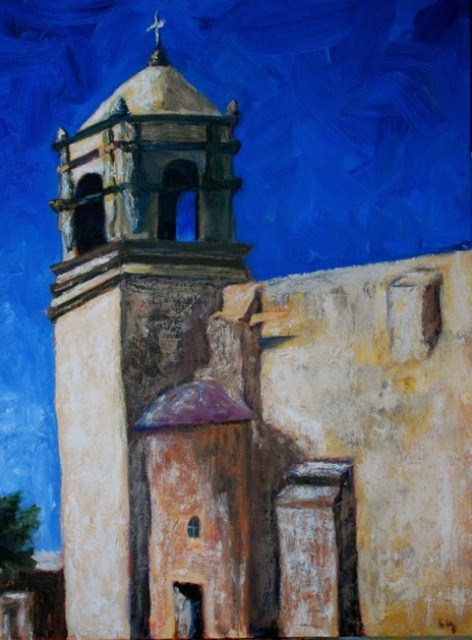 """San Antonio Mission"" original fine art by Liz Zornes"