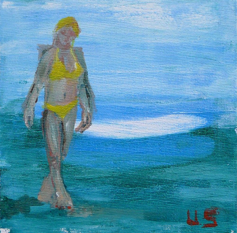 """Yellow bikini"" original fine art by Ulrike Schmidt"