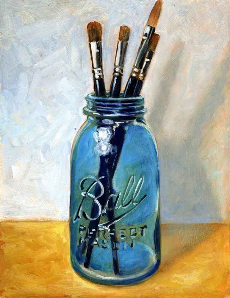 """Brushes in Blue Glass"" original fine art by Lael Henderson"