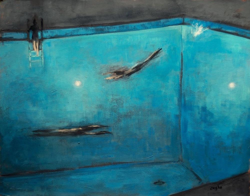 """Night swimmers"" original fine art by Angela Ooghe"