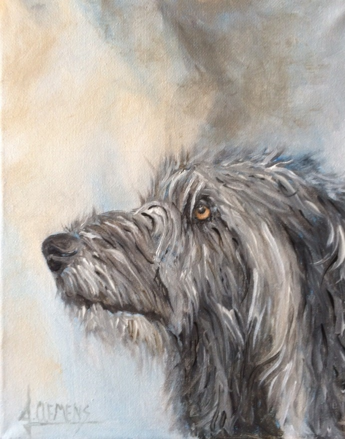 """Wolfhound Deerhound  mix"" original fine art by Jolynn Clemens"
