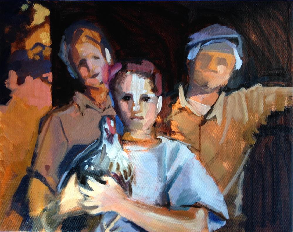 """Rex and His Chicken"" original fine art by Pamela Hoffmeister"