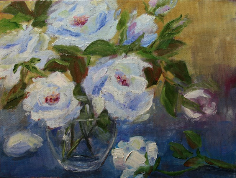 """Stratus Blue Roses"" original fine art by Jean Nelson"