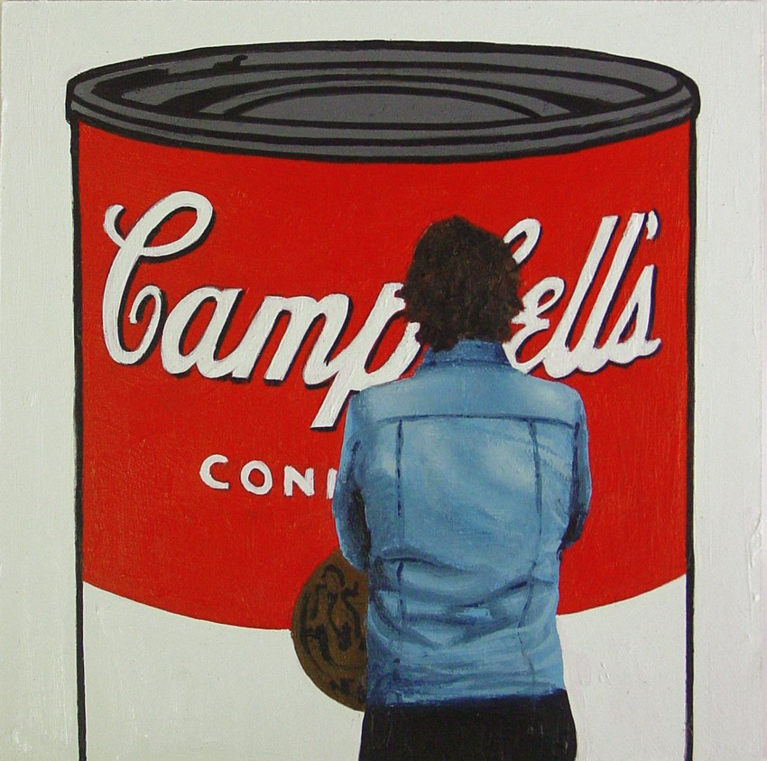 """Campbell Soup- Painting Of Man Enjoying Painting Of Campbell Soup By Andy Warhol"" original fine art by Gerard Boersma"