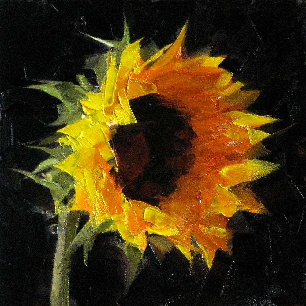 """""Sunflower Study 4"" original fine art by Qiang Huang"