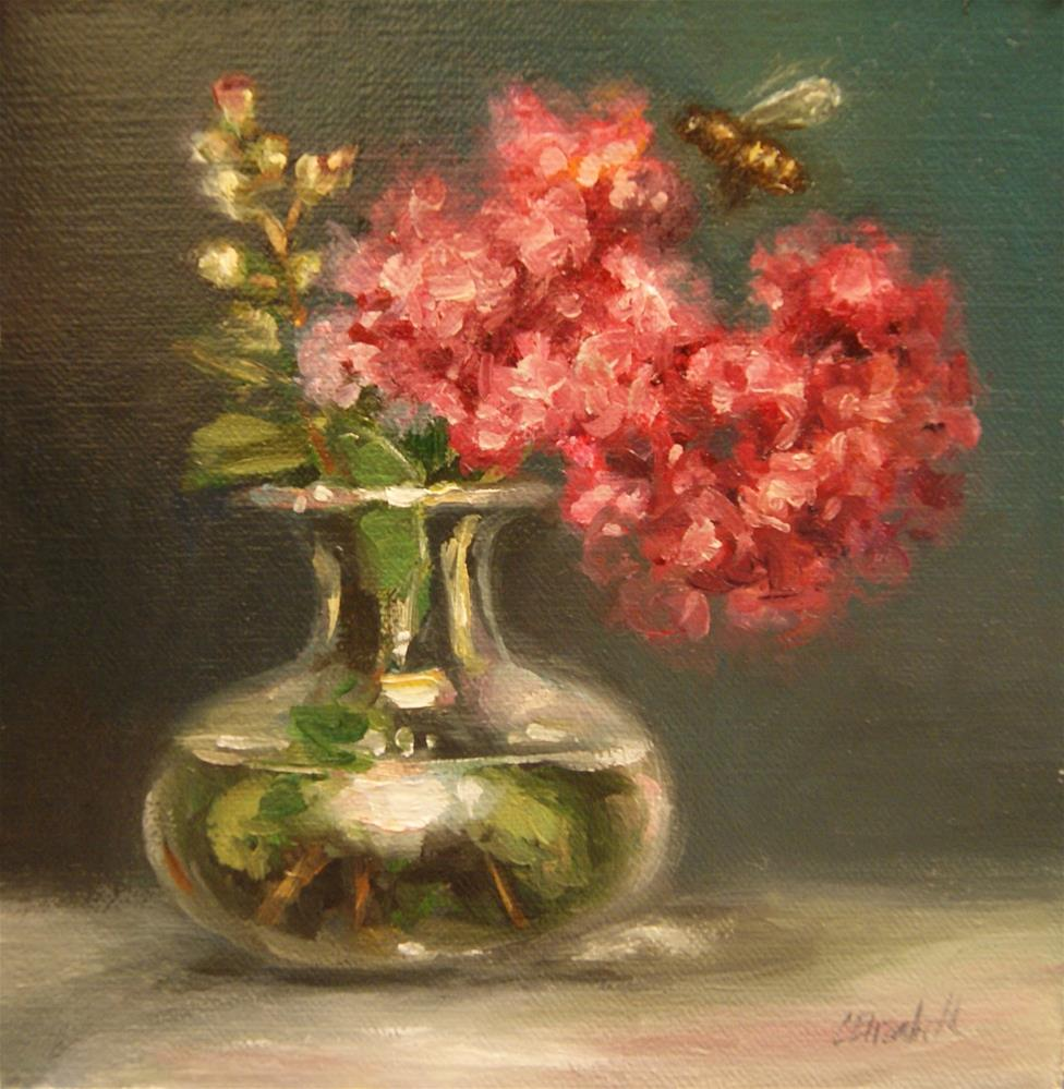 """Pink Crepe Myrtle with Bee,  Oil on 6x6 Linen Panel"" original fine art by Carolina Elizabeth"