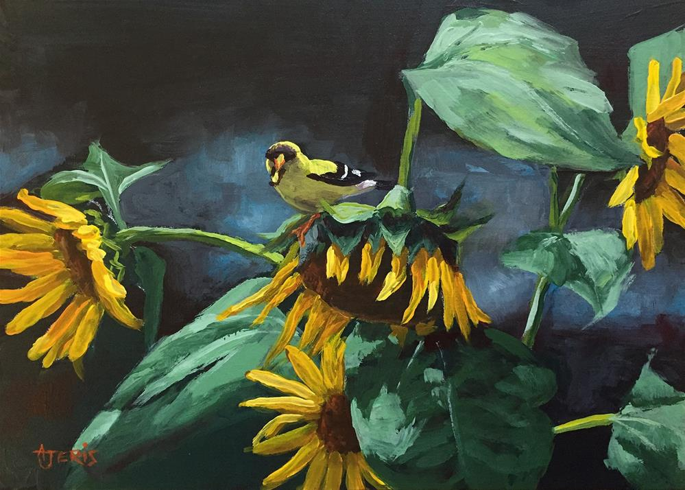 """Finch Lunching on Sunflower"" original fine art by Andrea Jeris"