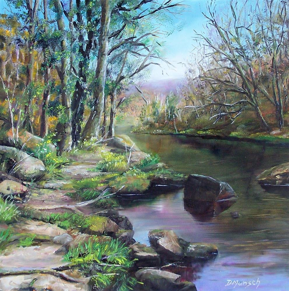 """Pathway by River"" original fine art by Donna Munsch"